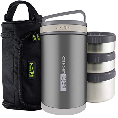 Home Puff Lunch Box Double Wall Vacuum Insulated Stainless Steel- 3 Leak Proof Containers- Bag Included (Gray - 41 Oz)