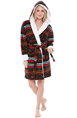 Alexander Del Rossa Womens Short Fleece Hooded Robe, Bathrobe with Trim, 3X 4X Aztec Evening (A0277W164X) -