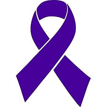 amazon com small purple ribbon awareness decal 1 decal retail