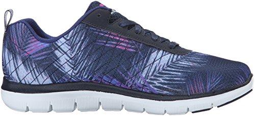 Skechers Flex Appeal 2.0 Tropical Bree, Chaussures Multisport Outdoor Femme Bleu (Nvpk)