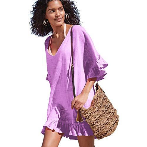 OMSJ Ruffle Dresses Women Swimsuit Loose Cover ups Bikini Beach Tunic Top (XL, Light Purple)