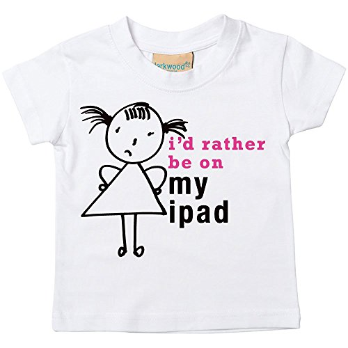 Price comparison product image 60 Second Makeover Limited Little Girls' I'd Rather Be On My iPad T-Shirt Daug 5-6 Years White
