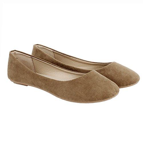Guilty Schuhe Damen Comfort Round Toe Slip auf Ballett Wohnungen Schuhe Wohnungen 01 Taupe Wildleder