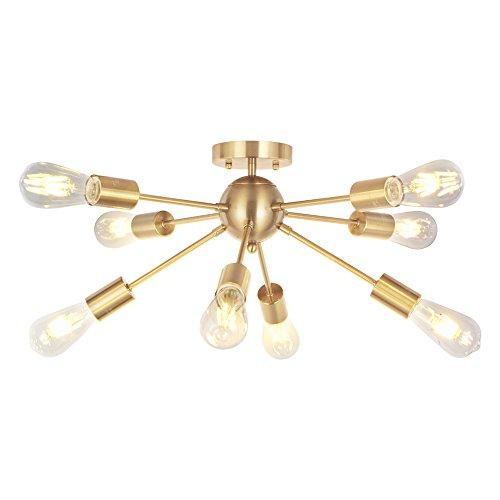 - VINLUZ 8 Lights Sputnik Chandelier Light Fixtures Deeper Gold Semi Flush Mount Ceiling Light Modern Pendant Lighting Mid-Century Starburst Style Ceiling Lamp For Kitchen Room Bedroom Dining Room Foyer