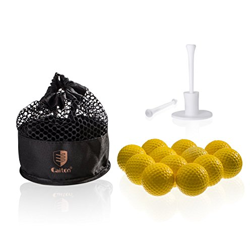 Caiton Golf Balls Practice, Practice Balls Soft Foam with Indoor Golf Tee Yellow One Dozen by Caiton (Image #6)