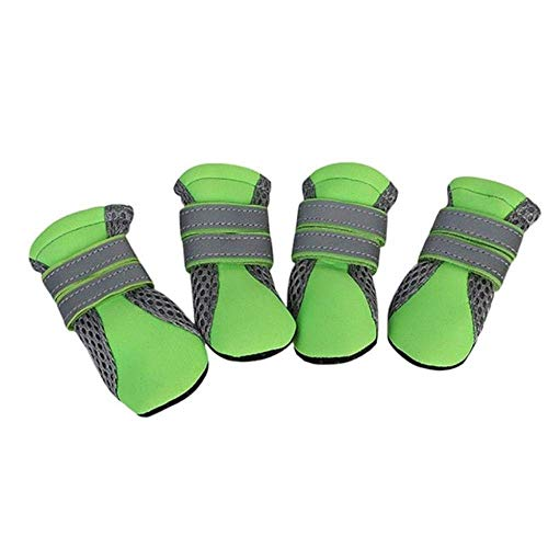 GANE Breathable Dog Walking Shoes Net Soft Summer Pet Shoes Non-Slip Night Safe Reflective Boots