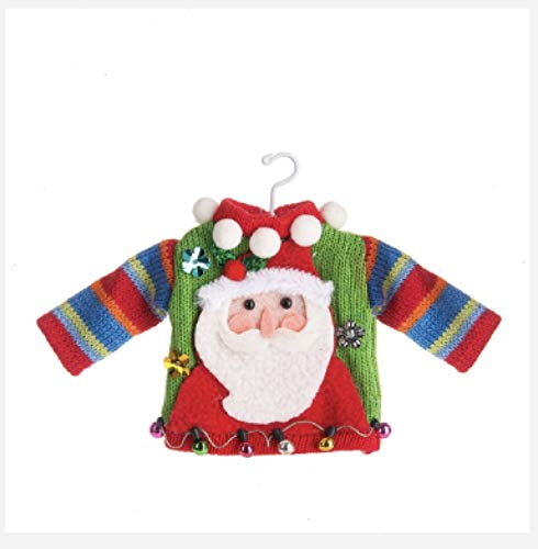 DG Shopping Spree Ugly Tacky Sweater Knitted Christmas Holiday Ornament - Santa Claus