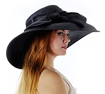 Lucky Charm Derby Church Hat with Bow (Black)