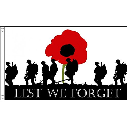 3ft x 2ft (90 x 60 cm) Lest We Forget Poppy Remembrance Day War Soldiers Army 100% Polyester Material Flag Banner Ideal For Pub Club School Festival Business Party Decoration