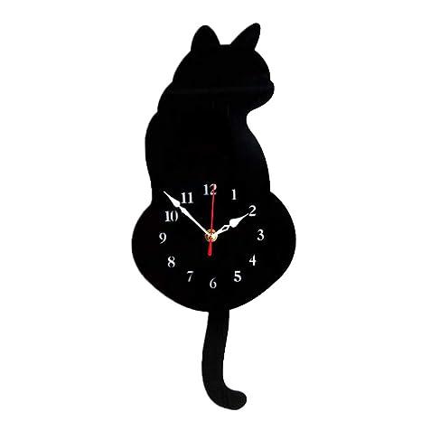 Sharplace Reloj Digital de Pared Adornos de Casa - Gato Negro