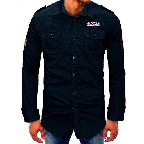 Men's Stylish Long Sleeve Shirt Tops Autumn Solid Slim Fit Shirt Tops Blouse (S, Dark Blue) by GONKOMA Mens Shirts