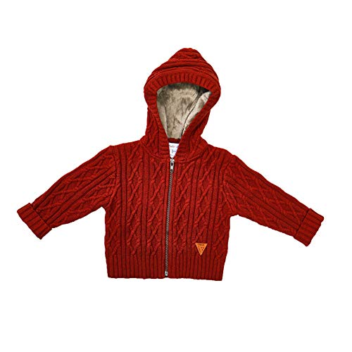 Price comparison product image Petit Clan Baby Boy Hooded Cardigan Cable Knit Sweater with Zipper and Leather Logo Toddler Winter Warm Outerwear