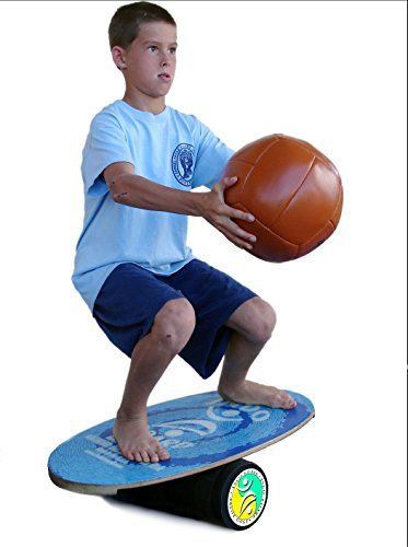 INDO BOARD Rocker Balance Board Package Ages, Improve Balance, Comes with 33'' X 15'' Non-Slip Deck 6.5'' Roller and 14'' Cushion - Aqua Blue by INDO BOARD (Image #5)