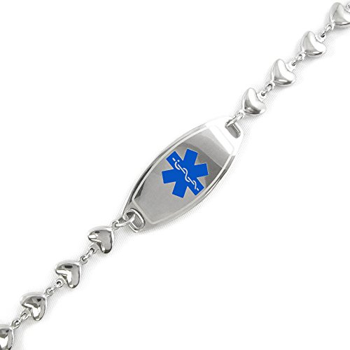 My Identity Doctor - Pre-Engraved & Customizable Diabetes Type II ID, Medical Alert Bracelet, 6mm Heart Chain (Blue) by My Identity Doctor