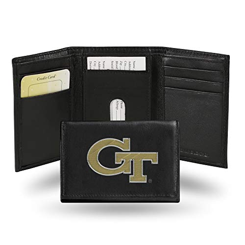 Rico Industries NCAA Georgia Tech Yellow Jackets Embroidered Leather Trifold Wallet