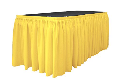 LA Linen Polyester Poplin Pleated Table Skirt with 10 Large Clips, 14-Feet by 29-Inch, Light - 100% Skirts Table Polyester