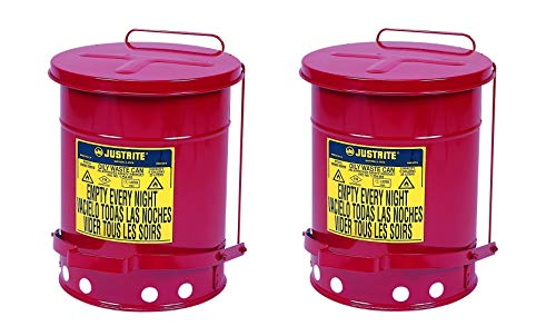 Justrite Galvanized-Steel; Safety cans; for Oily Waste; Red; Foot Operated Cover; Raised, Ventilated Bottom; Reinforced Ribs; Self-Closing; UL Listed; FM Approved; Capacity: 6 gal. (23L) (Pack of 2) ()