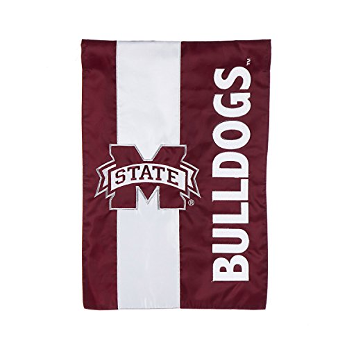 Team Sports America Mississippi State University Outdoor Safe Double-Sided Embroidered Logo Applique Garden Flag, 12.5 x 18 - Bulldogs Mississippi State Letter