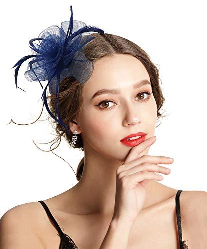Z&X Ladies Girls Fasciantor Hat Mesh Spiral Flower Feather Tea Party Hat Clip Brooch Navy Blue