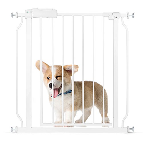 Delxo Multi-Use Metal Pet Gate Baby Gate 22″ Wide Opening Easy Walk-Through Single-Hand Access Easy Set Up No Tools Required Fit Opening 29″ to 34″ Wide for Baby/Dogs/Cats Sturdy Enough Bear 80 Pound For Sale