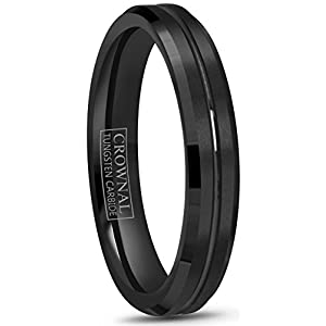 Crownal 4mm 6mm 8mm 10mm Black Tungsten Wedding Band Ring Men Women Beveled edges Polished Grooved Center Comfort Fit Size 4 To 17