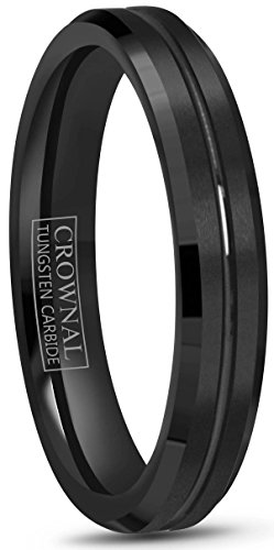 Crownal 4mm 6mm 8mm 10mm Black Tungsten Wedding Band Ring Men Women Beveled edges Polished Grooved Center Comfort Fit Size 4 To 17 (4mm,7.5) by CROWNAL