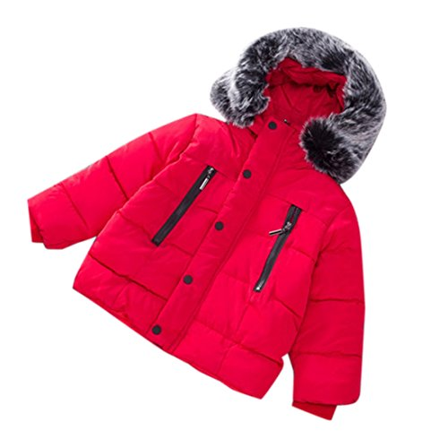 Infant and Toddler Baby Boys Girls Warm Hoodie Down Jacket Winter Coat (Red, 5T)