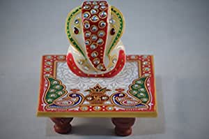 christian gifts india marble chowki ganesh with peacock design 10164