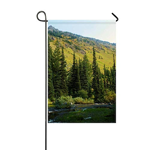 DongGan Garden Flag USA Washington Mt Baker Snoqualmie National Forest River 12x18 Inches(Without Flagpole)