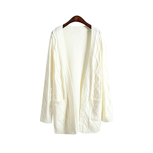 New Women Harajuku Warm Sweater Coat knit Open Front Cardigan With Pockets (White)