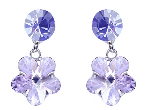Alilang Womens Swarovski Crystal Purple Hibiscus Flower Drop ()