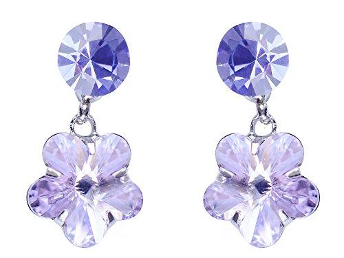 (Alilang Womens Swarovski Crystal Purple Hibiscus Flower Drop Earring)
