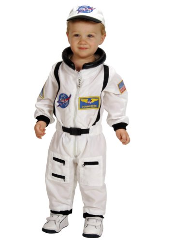 Aeromax Jr. Astronaut Suit with Embroidered Cap and NASA patches, WHITE, Size 18 ()