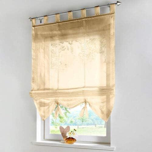 SUOTENG,Roman Curtain for Kitchen Curtain Sheers for Living Room Tie Up Curtains for Living Room Window Curtains for Girls Room Voile Curtains for Living Room Sheer Curtain Decor,