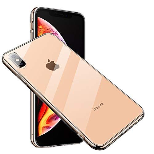 きつく戻る砦ARROW iPhone XS ケース 背面9H硬度強化ガラスTPUハイブリッド 薄型 ストラップホール付き (iPhone XS, クリアー)