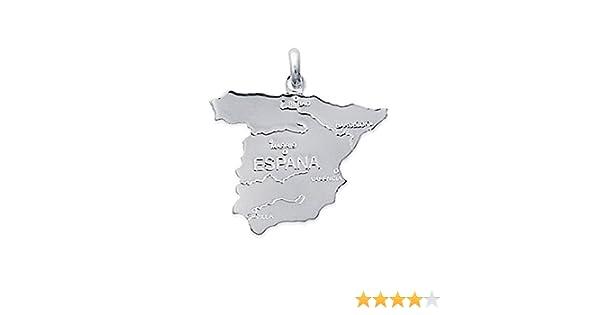 Colgante mapa España plata (plata 925): Amazon.es: Joyería
