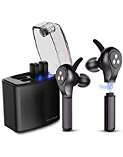 Auriculares Bluetooth, Syllable D9X PRO Auriculares Deportivos con 4 Baterías Reemplazable Bluetooth 5.0 Estéreo HD de Calidad Superior con Caja de Carga Portátil para iPhone y Android (Nueva Versión)