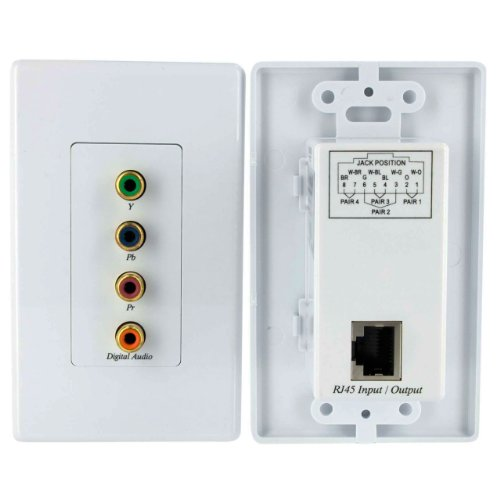 StarTech.com Component Wall Plate Video Extender Over Cat 5 with Digital Audio - Wall Mount (Plate Plug In Ceiling)