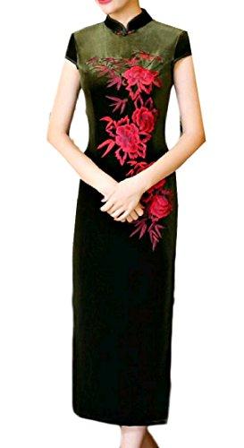 Pattern1 Embroidery Cheongsam Velvet Dress Long Stand Women s Collar Coolred g4qxUwOZz