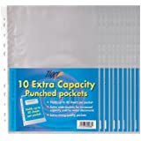 100 Pack of A4 Large Extra Capacity Strong Plastic Poly Punch Pockets Wallet Sleeves Clear Finish