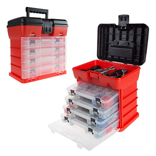 Storage and Tool Box- Durable Organizer Utility Box with 4 Compartments for Hardware, Fish Tackle, Beads, and More by Stalwart (Red) by Stalwart