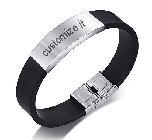Personalized Custom Simple Black Silicone and Stainless Steel