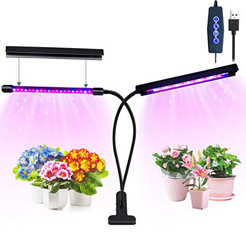 Grow Light, 20W 40 LED Bulbs Auto ON/OFF Plant Grow Lamp Dual Head Timing Grow Lights for Indoor Plants Seedlings with Red/Blue Spectrum Adjustable Gooseneck 3/6/12H Timer 5 Dimmable Levels