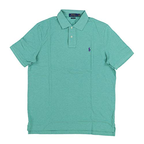 Polo Ralph Lauren Mens Classic Mesh Polo Shirt (S, Green (Purple Pony))