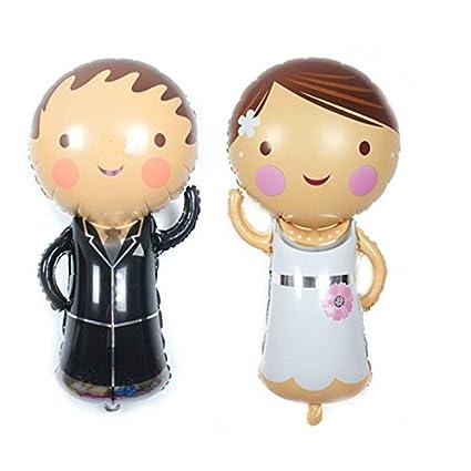 2 Unids globos novio y novia ideales para la decoracion de tu boda, en cada