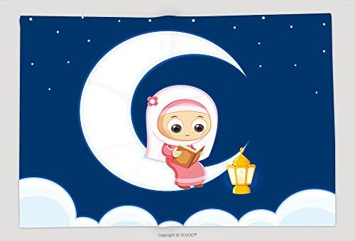 Supersoft Fleece Throw Blanket Muslim Girl Reading Quran Happy Ramadan 548885632 by vanfan