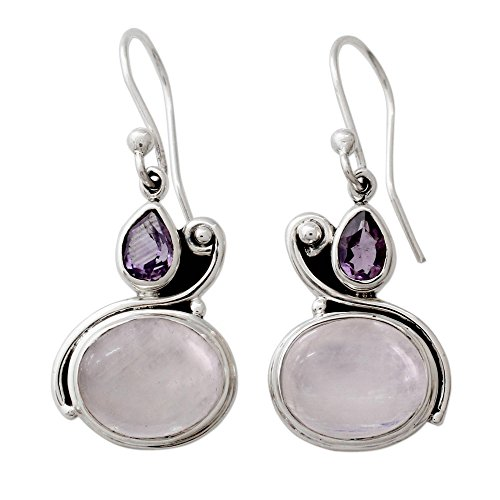 (NOVICA Multi-Gem Moonstone - Rainbow .925 Sterling Silver Dangle Earrings 'Glistening Beauty')