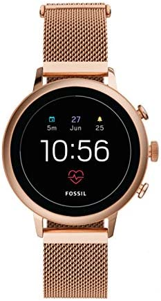 Fossil Womens Gen 4 Venture HR Heart Rate Stainless Steel Mesh Touchscreen Smartwatch, Color: Rose Gold (FTW6031)