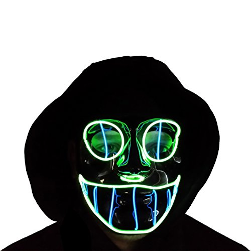 The Original LED Light Up El Wire Cheshire Cat Halloween Rave Festival Mask (Blue/Green)