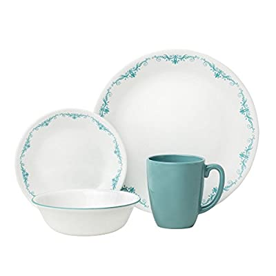 "Corelle 1123672 Livingware 16-Piece Dinnerware Set, Garden Lace, Turquoise/White - Garden Lace 16-pc Dinner Set includes 4 each: 10-1/4"" Dinner Plates, 6-3/4"" Bread and Butter Plates, 18-Ounce Soup/Cereal Bowls, 11-Ounce Stoneware Mugs^Made with break and scratch resistant patented Vitrelle glass technology^Space saving design: lightweight and thin, yet extremely durable^Microwave, dishwasher, and oven safe- patterns won't wash, wear, or scratch off^Vitrelle Glass Dinnerware is made in the USA - kitchen-tabletop, kitchen-dining-room, dinnerware-sets - 41dA9fcaYeL. SS400  -"